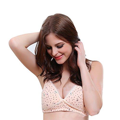 Sous-v¨ºtements confortable avant Cotton Button Nursing Bra Surker femmes Skin15