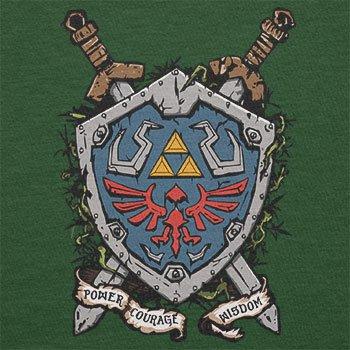 NERDO - Power Courage Wisdom Shield - Herren T-Shirt Flaschengrün