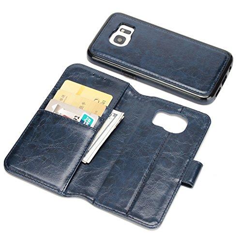 BCIT Samsung Galaxy S7 Leder Handytasche - Geldbörse mit Kartenfach abnehmbar Magnet Handy Schutzhülle für Samsung Galaxy S7 - Schwarz Blau
