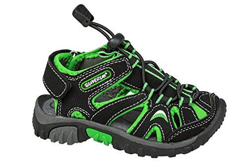GIBRA® Enfants Trekking Sandales avec fermeture velcro, noir/vert Taille 25–36 Noir - Schwarz/Grün