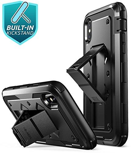 iPhone X Hülle, i-Blason [Armorbox] Outdoor Schutzhülle Ganzkörper Case Schale Heavy Duty Handyhülle mit Ständer, eingebautem Panzerglas und Gürtelclip für Apple iPhone X / iPhone 10 2017, Schwarz Schwarz