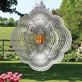 Edelstahl Windspiel - BLUME EASY 300 - rostfreier Edelstahl - Abmessung: 30x30cm - inkl. Aufhängung und Glaskugel