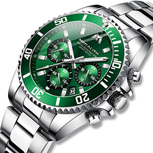Herren Uhr Männer Chronographen Gold Edelstahl Wasserdicht Designer Armbanduhren Mann Militär Großes Leuchtende Analog Datum Business Uhren -