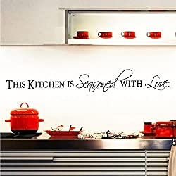 Witkey This Kitchen Is Seasoned with Love DIY Dining Room Home Decor Decals Wall Sticker Art Quote and Saying Removable DIY Mural Living Room Bedroom
