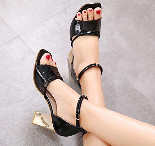 Aisun Damen Süß Lackleder Quadratische Zehe Metallglanz Blockabsatz Knöchelriemchen Sandalen Schwarz