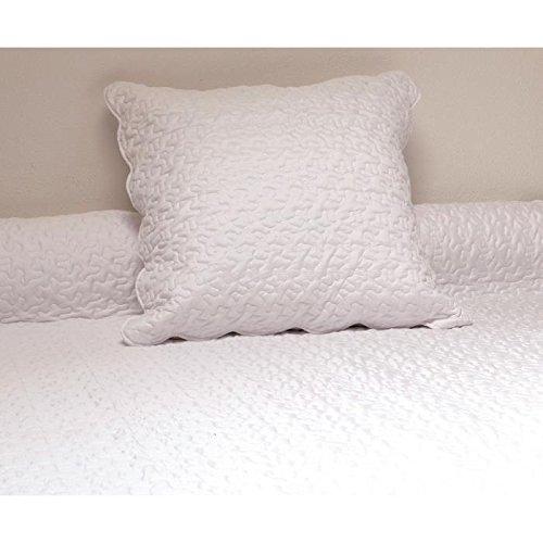 Soleil d'ocre 373003 Couvre-Lit Boutis Avec 2 Taies d'Oreiller Polyester Blanc 240 x 220 cm
