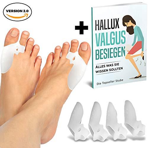 MILAGA 4 x Verbesserte Hallux Valgus Zehenspreizer mit einstellbarer Zehenspreizwirkung | +Exklusiver Ratgeber +Zufriedenheitsgarantie | 2 x effektiver durch extra Zehenschlaufe | BPA FREI