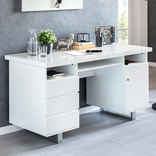 FineBuy Schreibtisch Salih 140x76x60 cm Groß Weiß Hochglanz Computertisch | Bürotisch 140 cm...