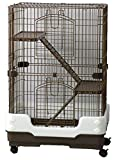 ukpetandaquatics Chinchilla, Rodent Cage Three Tier On Wheels Brown