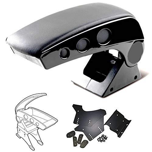 PRICEKILLER - Bracciolo poggia braccio in simil pello nero universale con vano portaoggetti regolabile e reclinabile nuovo dettaglio con piastre laterali in alluminio lucente