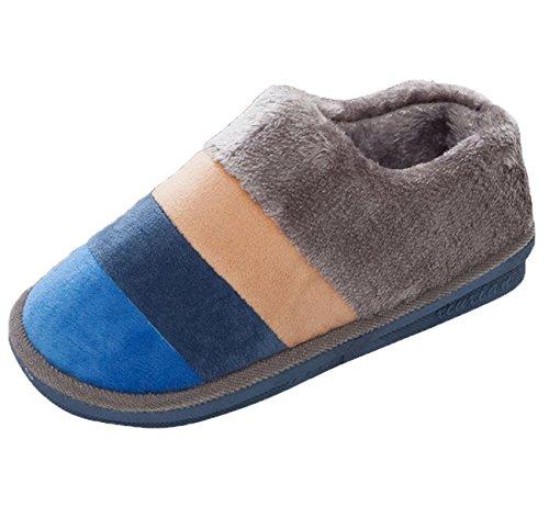 Minetom Femmes Hommes Automne Hiver Pantoufles Chaudes Confortable Coton Chaussures D'Intérieur Anti Slip Chaussons Bleu Gris