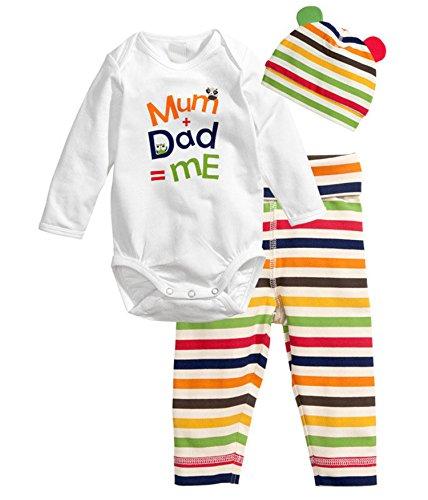 Babyicon 3PCS Baby Spielanzug + Hut + Hose Baumwolllange Hülsen Overall Bodysuit (80cm: (6-9 Months), Mama Papa und (Baby Bären Papa Kostüme Mama Und)