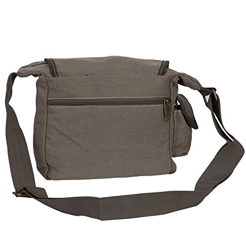 Canvas-Umhängetasche | Große Schultertasche für Freizeit & Business | Messenger Bag | Praktische Größe für Notebook, Portemonaie, Handy & Co. | Unisex Olive