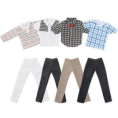 ASIV- 4 set Mini Moda Fatto a Mano Abbigliamento Casual Costume Manica Corta Pantaloni a Scacchi per Fidanzato di Barbie Bambole di Ken (Stili Casuali)