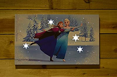Disney Frozen LED Battery Operated Light Up Wall Canvas 50cm x 30cm - Skating
