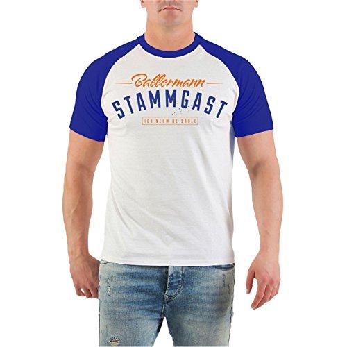 Männer und Herren T-Shirt MALLE Ballermann Stammgast BLAU (mit Rückendruck) Royalblau/Weiß
