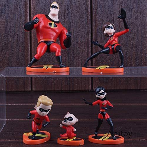 Die Unglaublichen 2 Figuren Mr.Incredibles Elastigirl Violet Dash Jack Parr Mini Niedlich Ver.PVC Hot Toys für Kinder Kinder 5pcs / Set