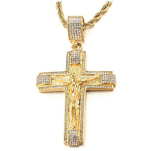 Herren Damen Edelstahl Große Gold Jesus Christus Kruzifix Kreuz Anhänger Halskette mit Zirkonia und 75cm Stahl Seilkette (Großes Kruzifix Charme)