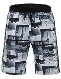 Wixens Herren Slim Fit Freizeit Shorts Casual Mode Urlaub Strand-Shorts Sommer Meeresstrand Kokosnuss Palmen(Schwarz und Weiß, XL)