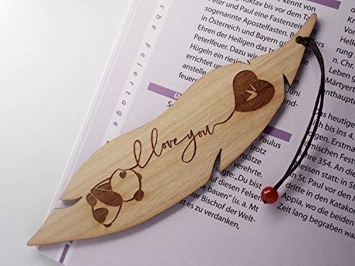 Personalisiertes Lesezeichen aus Holz, Pandabär, Minatur