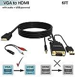 Câble adaptateur VGA vers HDMI,1.8 M (ancien PC vers un nouveau téléviseur/moniteur avec HDMI), FOINNEX AV convertisseur VGA vers HDMI pour connecter l'ordinateur au moniteur,TV, projecteur