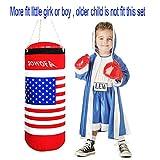 SOWOFA Kinder Boxing Toy Set Champion Boxsack und EIN Paar weiche gepolsterte Handschuhe USA Flagge Sport körperliches Training Spiel Extra große 17,5 Zoll groß 6 Zoll hängenden Kette
