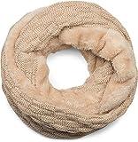 styleBREAKER warmer Feinstrick Loop Schal mit Flecht Muster und sehr weichem Fleece Innenfutter, Schlauchschal, Unisex 01018150, Farbe:Sand