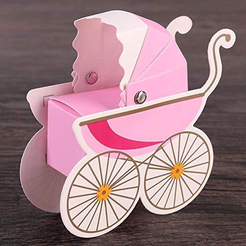 Vidillo 20 Stück Kinderwagen Süßigkeiten Geschenk Boxen Baby Dusche Party Favor Dekoration Candy Flaschen Gastgeschenken (Pink/Blau/ Gelb) (Pink)