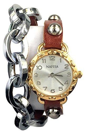 Watch Wrap Double (City nafīsa Frauen runden Zifferblatt Metall Kette/Leder mit Nieten Double Wrap Strap Armbanduhr na-0025)