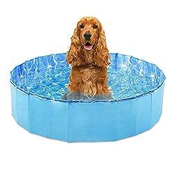 GoPetee Hundepool für Hunde Swimmingpool Planschbecken Hundebadewanne Haustierpool mit Ablassventil Katzenpool Faltbare Haustiere Badewanne (L: 80 * 20 cm)