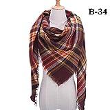 MCSZG Mode Winter Schal für Frauen Plaid gestrickte Dreieck Schals Kaschmir Pashmina Lady warme Decke Schals Wraps Neck Schals