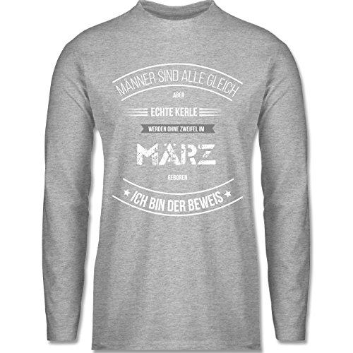 Shirtracer Geburtstag - Echte Kerle Werden IM März Geboren - Herren Langarmshirt Grau Meliert
