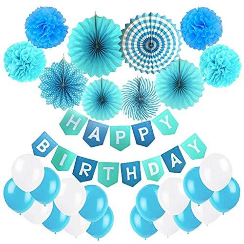 21 Stück Partei Geburtstag Dekorationen, Pompoms Blumen, Happy Birthday Wimpelkette Girlandeund Luftballon Für Geburtstag Parteien Hauptdekorationen - Blau, Hellblau Und Weiß (Parteien Luftballons Und)