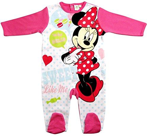 Minnie Mouse Kollektion 2017 Strampelanzug 56 62 68 74 80 86 92 Strampler Einteiler Maus Disney Rosa (80 - 86; Prime, Weiß-Rosa) (Strampelanzug Pyjama Mädchen)