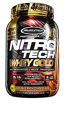 MuscleTech NitroTech Whey Gold, 100 Percent Pure Whey Protein, Double Rich Chocolate, 1.02 kg by MuscleTech