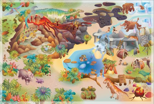 House Of Kids 11237-E3 - Playmat Quadri Dinosaures Connect, 100 x 150 cm