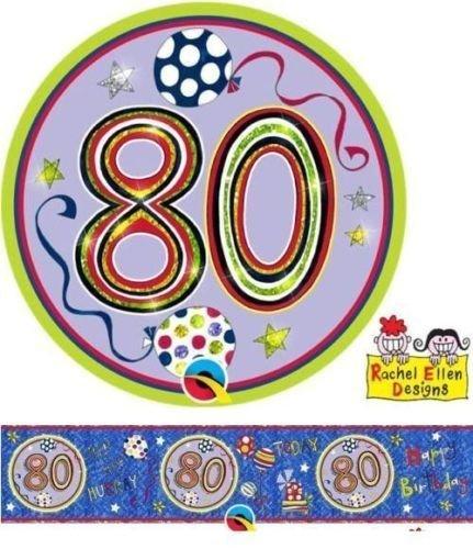 Age 80/80th Birthday Polka Dots & Stripes Rachel Ellen Foil Banner & Big Badge by Rachel Ellen Balloons & Party