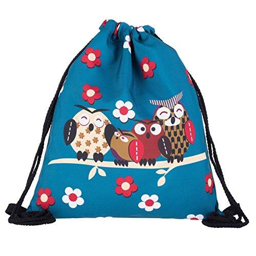 Kukubird Quattro Gufi Su Ramo Primavera/estate Di Design Semplice Stringa Palestra Scuola Zaini Four Owls Blue