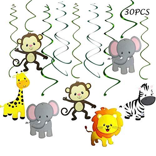 JINMURY 30 Stücke Dschungel Safari Tiere Party Hängen Swirl Partydekorationen Liefert Tier Dekor für Geschenkparty Kinder Geburtstag