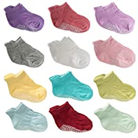 12 Pairs Baby Crew Socks Cotton Anti Skid Toddler Socks with Grips for Baby Girl Boy (Multi-Color) (12 Pack-Assorted Girls-02, 12-36 Months)