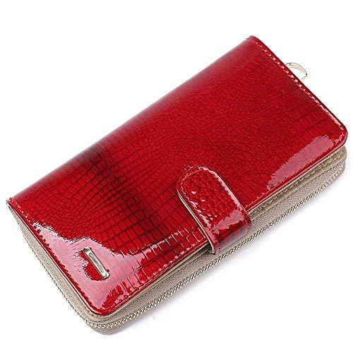 ZhiGe Portmonee Damen Frauenbrieftasche Lange Multi-Card-Patent Leder Dame Geldbörse Original Tasche Reißverschluss Handtasche -