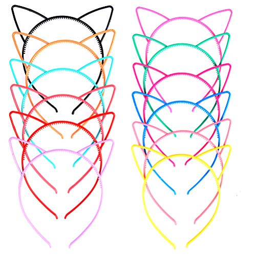 TIMESETL Haarreif mit Katzenohren Katze Ohr Stirnband, 12Farben Plastik Katzenohren Haarreifen Haarband Katze Bogen Hairbands Verfassungs Partei Headwear für Frauen Mädchen