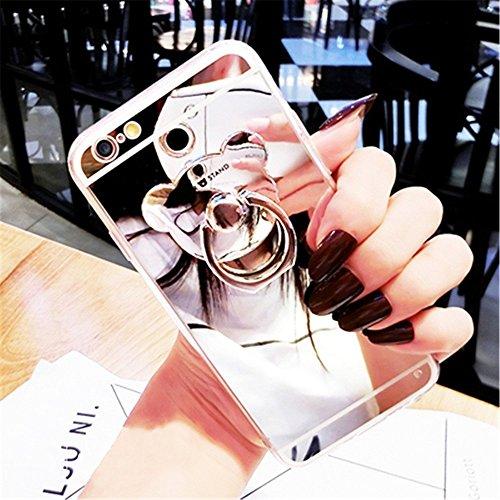 Etsue Glitzer Silikon Schutz HandyHülle für iPhone 6S/iPhone 6 Spiegel TPU Hülle, Mirror Effect Luxus Kristall Glitzer Glanz Sparkles Bling Diamant Silikon Handytasche iPhone 6S/iPhone 6 Ultradünnen K Bär Ring,Silber