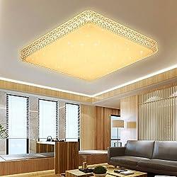 VINGO® 60W Deckenleuchte Starlight Effekt Kristall Warmweiß LED Korridor Eckig Deckenbeleuchtung Schönes Badlampe 2700K-3000K