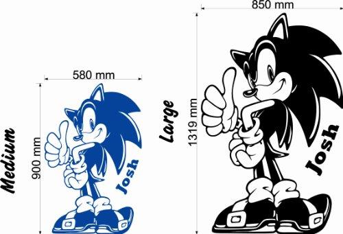 Wondrous Wall Art Sonic The Hedgehog-Personalisiert mit Ihrem Namen Wahl-Kinder Wand Aufkleber (mittel)