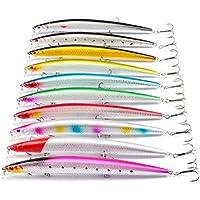 CFtrum 10pcs(18,5cm/24,5g) alta calidad pesca coloridos señuelos de artificiales Cebos Trastos 3D ojos de pescados con anzuelos de pesca de accesorios