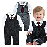 Anik Sunny Baby Boy Wedding Tuxedo Waistcoat Design,Baby Boy Tie Striped Vest Formal Outfit (80(6-12Months), Black)