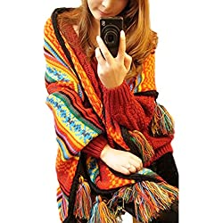 Minetom Mujer Otoño Invierno Boho Bufandas Calentar Franja Borla Chales Poncho Estolas Pashminas Multicolor One Size