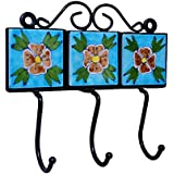 Hand Painted Ceramic and Iron Wall with 3 Hooks