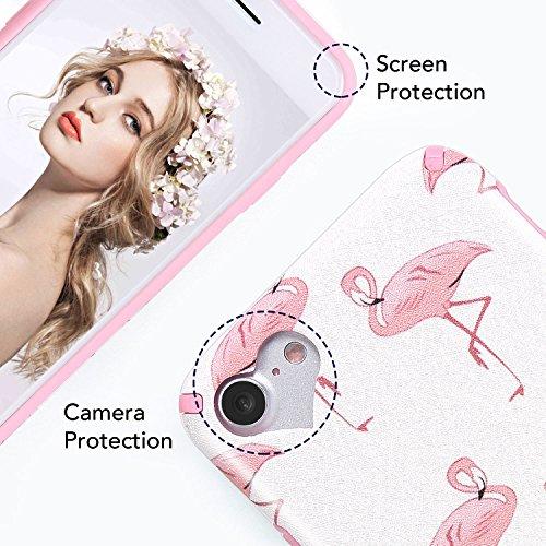 """iPhone 6 6S Hülle, Imikoko® iPhone 6 6S Rundumschutz Handy Hülle Schutzhülle Weich Silikon TPU Case Super Sweet Cute für Girl Frauen Mädchen(Weiß Blumen, 4.7"""") Rosa Flamingo"""